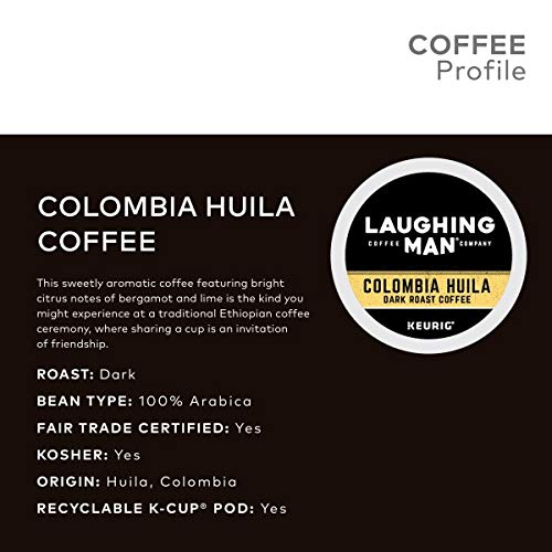 Laughing Man, Colombia Huila, Single-Serve Keurig K-Cup Pods, Dark Roast Coffee, 96 Count (6 Boxes of 16 Pods) by Laughing Man (Image #3)