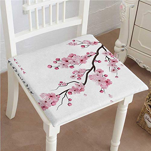 Cherry Outdoor Swing - Dining Chair Pad Cushion of Cherry Branches with Blooming Ative Boho Art Pink White Fashions Indoor/Outdoor Bistro Chair Cushion 16