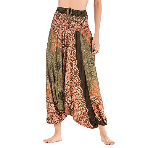 Harem Pants Women's Hippie Bohemian Yoga Pants One Size Aladdin Harem Hippie Pants Jumpsuit Smocked Waist 2 in 1 (Free, Army Green) by BingYELH Yoga (Image #1)