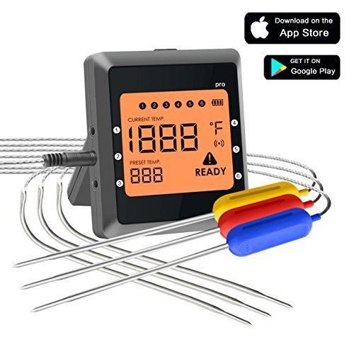 Collen Wireless Cooking Thermometer, Bluetooth 4.0 Digital Meat Thermometer with 6 Stainless Steel Probes for BBQ Grill Smoker Oven and Kitchen Supports iPhone & Android System