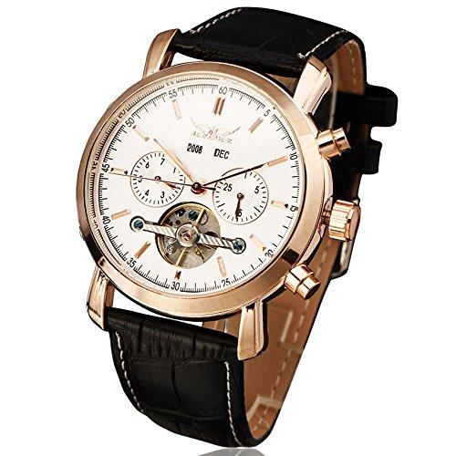 JARAGAR Relojes Mecánicos Automáticos De Hombre (Tourbillon Doble Calendario Reloj Pulsera, caso de oro