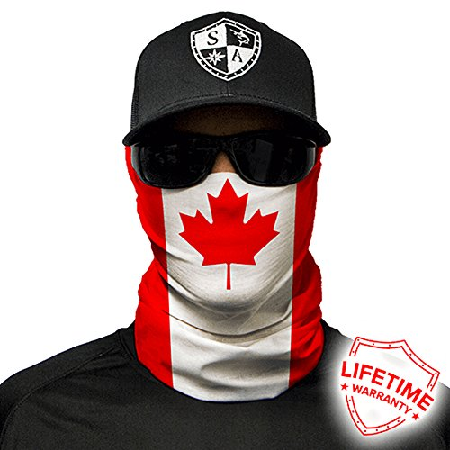 SA Company Face Shield Micro Fiber Protect From Wind, Dirt and Bugs. Worn as a Balaclava, Neck Gaiter & Head Band For Hunting, Fishing, Boating, Cycling, Paintball and Salt Lovers. - Canada Flag
