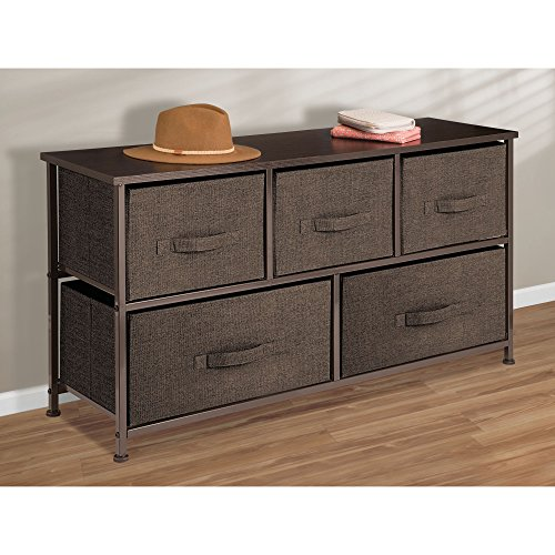 mDesign Fabric 5-Drawer Dresser and Storage Organizer Unit for Bedroom, Dorm Room, Apartment, Small Living Spaces – Espresso