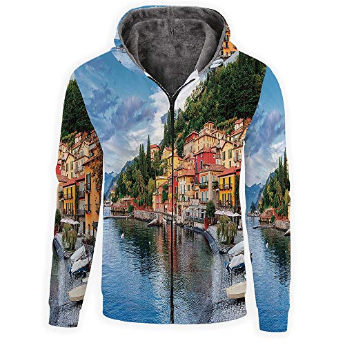 (iPrint Men's Full-Zip Hoodie -Italian Decor)