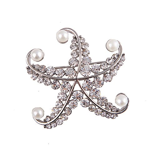 CHUYUN Delicate Crystal Starfish Brooch Pins with Simulate Pearls Bridal Brooch (Silver) (Starfish Brooch Crystal)