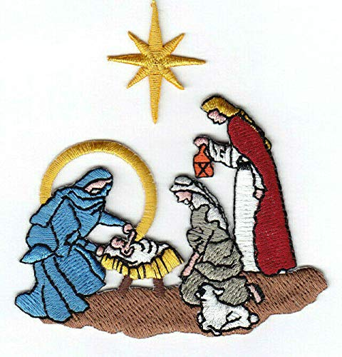 NATIVITY SCENE Iron On Patch Religious Baby Jesus Christmas