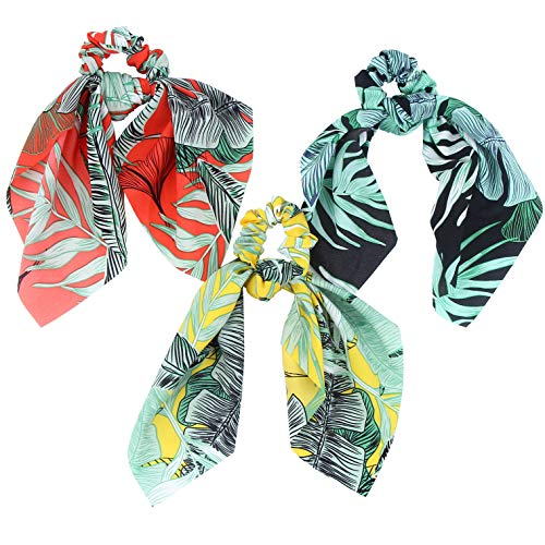 (Hair Scarf Silk Scrunchies Ponytail - (3 Pack) SUMMER VIBES Leaf Details Unique Hair Ties Designs to match Different Outfits – Satin Silk Hair Bands for Women Teen Tween Hair)