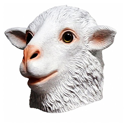 Ram Sheep Animal Latex Mask, Realistic White Sheep Farmyard Full Head Mask Halloween Fancy Dress Cosplay Carnival Party -