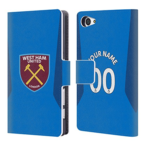 Custom Customized Personalized West Ham United FC Away Goalkeeper 2017/18 Players Kit Leather Book Wallet Case Cover For Sony Xperia Z5 Compact