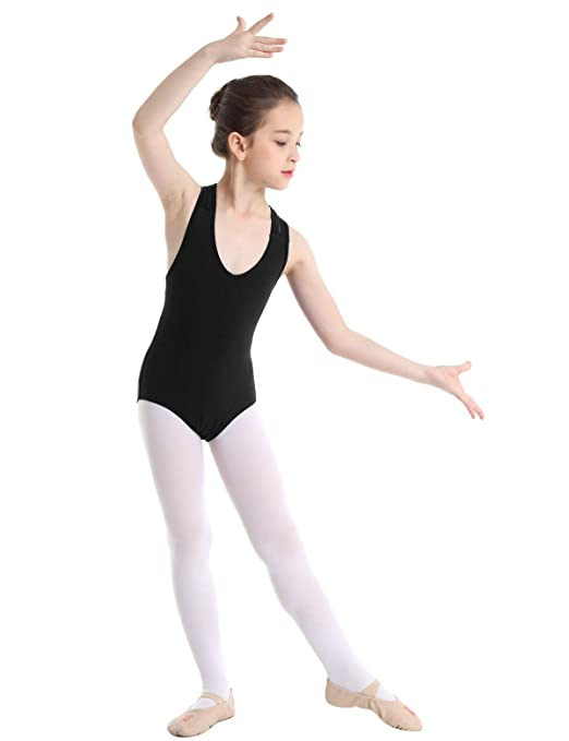 MSemis Kids Girls Lace Splice Racer Back Gymnastics Leotard Camisole Ballet Dance Wear