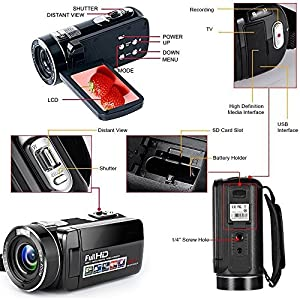 "Digital Video Camera Camcorders With IR Night Vision 24.0 Mega pixels, WEILIANTE Portable Mini Handheld Camcorder HD 1080P Max. DV 3"" LCD Screen 16X Zoom (Two Batteries Included) from WEILIANTE"