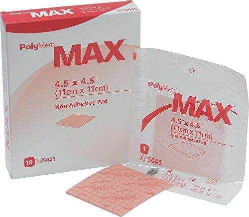 PolyMem Max Non-Adhesive Wound Dressing, Sterile, Foam, 4.5' X 4.5' Pad, 5045 (Box of 10) by PolyMem Max