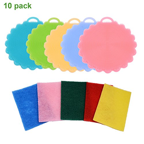Scomfy Silicone Cleaning Dishwashing Mildew-Free,5 Pack Sponges + 5 Pack Scouring Pads Bonus
