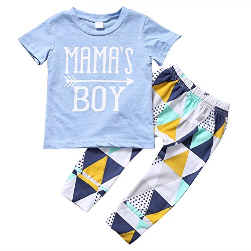 MA'S BOY Sleeve Short T-shirts Tops + Geometric Splicing Pants Outfits Set ()