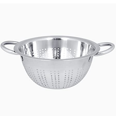 20 24 28 cms  Stainless Steel DEEP Colander With Long Handle Pasta Strainer