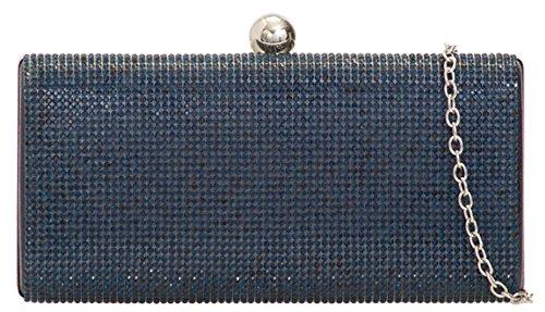 De Caja De Broche Azul Bolsa Dura Bola Diamante De Preciosa Bolsos Femeninos Metálica Marino Embrague HxZ0Ww