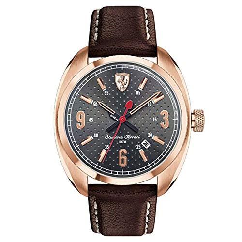 Ferrari Men s Scuderia Rose-Gold Tone Brown Leather Watch 0830208