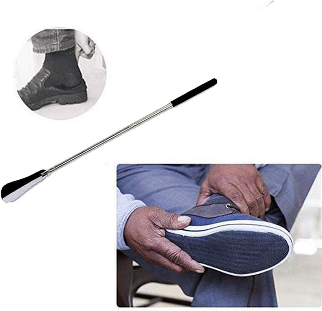 Freeby Telescopic Shoe Horn of Stainless Steel Wear Shoe Horn Helper Shoehorn Shoe Easy on and Off Shoe Sturdy Slip Aid Adjustable Length Range 31-65cm