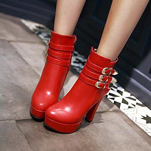 Easemax Kvinna Trendiga Solid Rund Tå Dragkedja Tjock Hög Klack Plattform Boots Röd