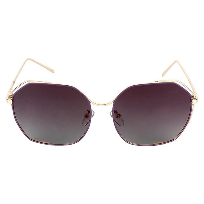 8d04ada2aa1a Caprio Black   Gold-Toned Metallic Frame Hexagonal Sunglasses For Women  Women(3308