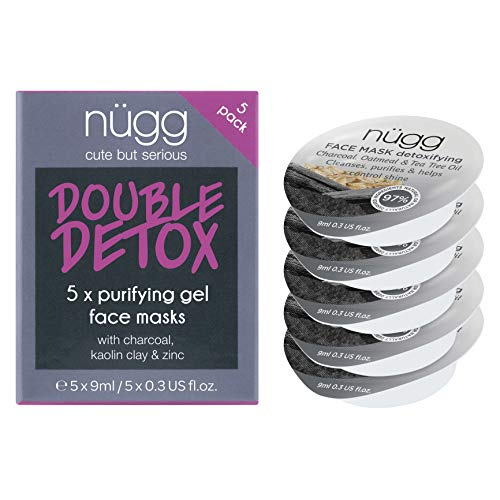 (nügg Detoxifying Charcoal Face Mask; Deeply Cleanses Pores, Detoxes & Removes Excess Oil; for Normal, Oily, Combination and Acne-Prone Skin; Non-Drying Gel Formula; 5 Pack)