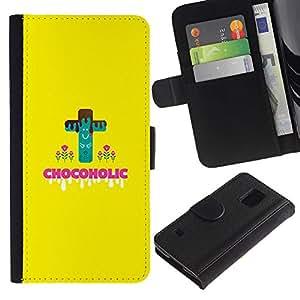 iKiki Tech / Cartera Funda Carcasa - Chocoholic Sweets Sugar Danger Diet Healthy Food - Samsung Galaxy S5 V SM-G900