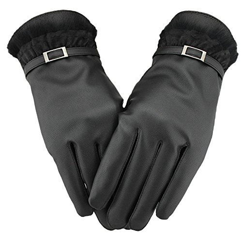 FairOnly Women Warm Leather Cute Lace Side Gloves Long Finger Touch Screen Mittens Gloves for Outdoor Activities Embossed Touch Screen;