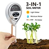 [2018 Upgraded] Soil Moisture Meter - 3 in 1 Soil Test Kit Gardening Tools PH, Light & Moisture, Plant Tester Home, Farm, Lawn, Indoor & Outdoor (No Battery Needed)