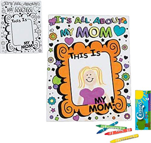 Giant Mothers Day Card Craft for Kids Color with Crayons 12 Cards 12 Mini Packs of Crayons ()