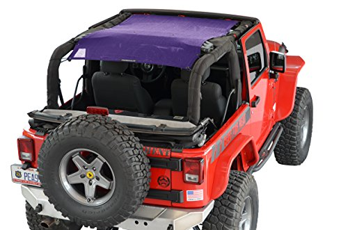 SPIDERWEBSHADE Jeep Wrangler Mesh Shade Top Sunshade UV Protection Accessory USA Made with 5 Year Warranty for Your JK 2-Door (2007-2017) in - Purple Sunburn