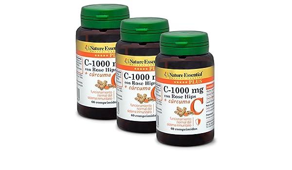 + Cúrcuma Nature Essential Plus - Con Vitamina C microencapsulada, Vitamina C de extracto seco de Rose Hips (Rosa canina) y cúrcuma - 60 Comprimidos.