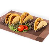 ELLTERA Metal Taco Holder Stand -2 IN PACK -With BONUS Non-Slip Mat -Premium Stainless Steel Taco Rack, 4 Pockets -Oven, Grill and Dishwasher Safe Taco Holders -Bonus Taco Recipes e-Book.