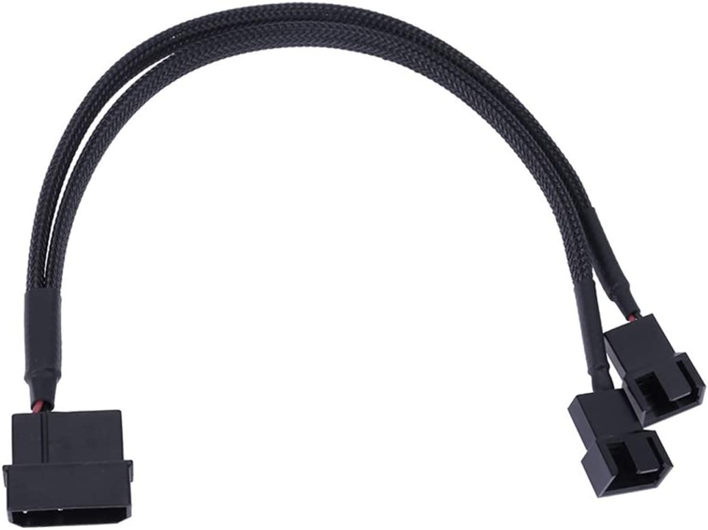 4-Pin Molex to 2 x 3-Pin or 4-Pin Computer PC Case Fan Y-Splitter Adapter Cable 3pin 4pin to Molex PC Cooler Cooling Fan PMW Sleeved Splitter Y Power Connector 2-Pack