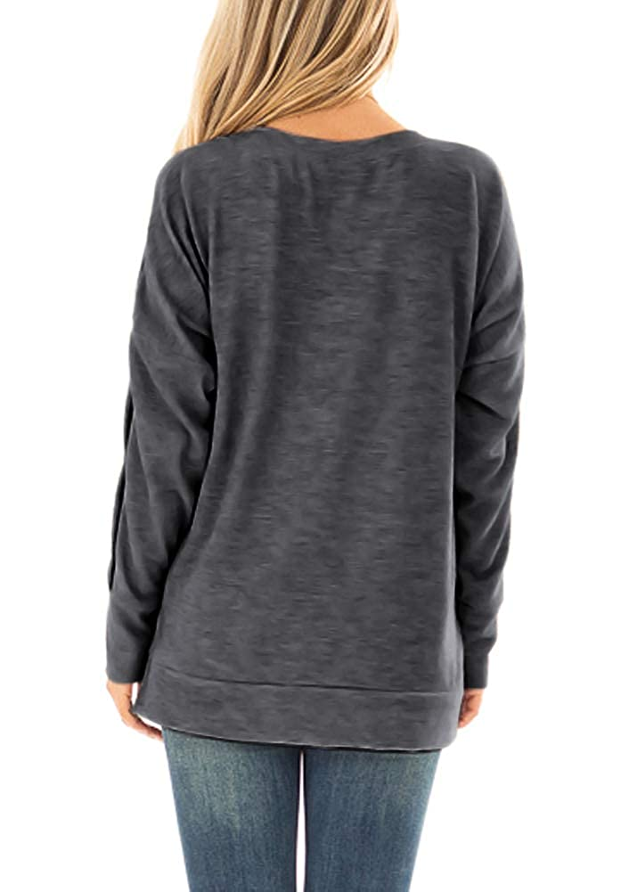 For G and PL Womens Cold Shoulder Button Long Sleeve Shirt