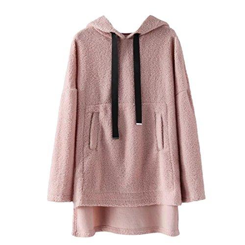 Sinzelimin Winter Autumn Women Cute Warm Fleece Hooded Sweatshirt Oversized Pockets Hoodies Drawstring Pullover (Pink, M) by Sinzelimin