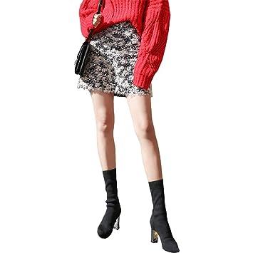 LLFUSM Punto Falda Media Mujer Otoño Invierno/Falda Cintura Alta ...
