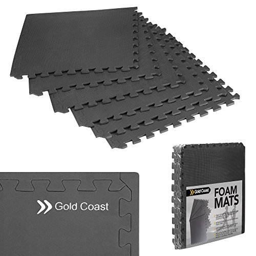 Gold Coast Exercise Mat – 6 Piece - Puzzle Gym Equipment Mat Set – Foam Interlocking Floor Mats (24 Sq Ft)