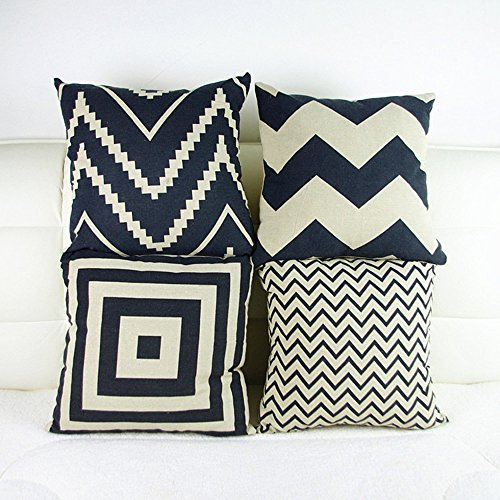 Price comparison product image Monkeysell couch pillows set of 4 Black and White Geometric Pattern Cotton Linen Square Throw Pillow Case Home Decor Design Cushion Covers Sofa Bed Chair Bedding pillow covers decorative 18x18