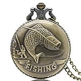 Retro Antique Fishing Mens Quartz Pocket Watch Necklace Long Chain Pendant Womens Gift Bronze