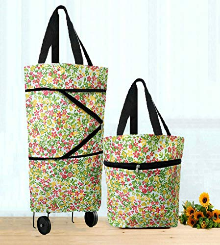 Cocobuy Collapsible Trolley Bags Folding Shopping Bag with Wheels Foldable Shopping Cart Reusable Shopping Bags Grocery Bags Shopping Trolley Bag on Wheels for Women (Flowers)
