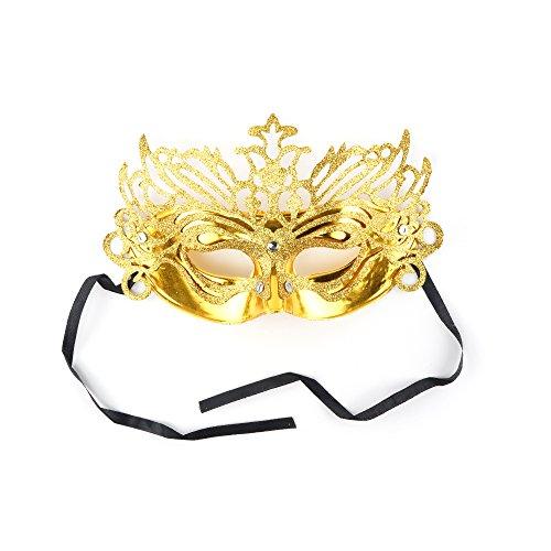 Glitter Gold Go Go Costumes (Zucker Feather (TM) - Glittered Carnival Mask Form Gold)