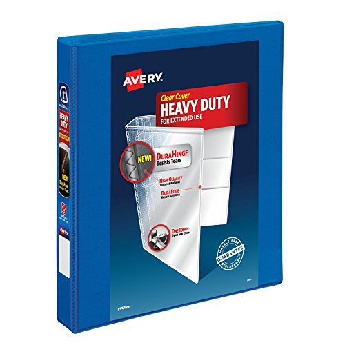Avery Heavy-Duty View Binder, 1 One Touch Slant Rings, 275-Sheet Capacity, DuraHinge, Pacific Blue (79720)