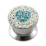 14MM Multi Rainbow Crystal with Aquamarine Heart Internal Thread Ear Tunnel Body jewelry