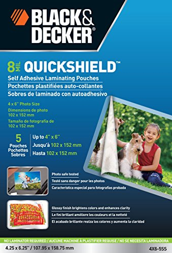 BLACK + DECKER QuickShield  Self-Adhesive 4 x 6 Photo Laminating Pouches, 8-mil, 5 Pack (4X6-5SS) (Pouch Self Adhesive)
