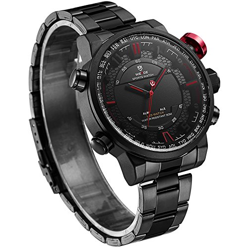 VOEONS Men's Black Stainless Steel Classic Watch Waterproof Wrist Watches for Men by VOEONS (Image #2)
