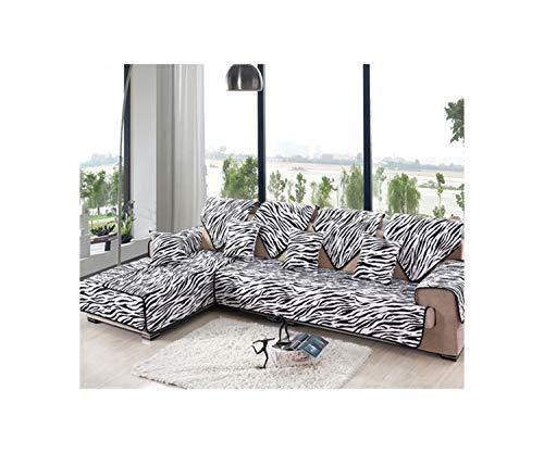 Slowly Mist White Black Zebra Stripe Print Cotton Quilting Sofa Cover Sectional Slipcovers Furniture Covers,Color Per Pic,70Cm150Cm (Footstool Zebra Print)