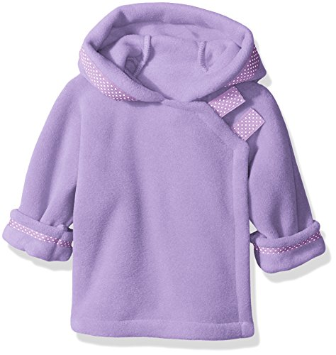 Widgeon Baby Girls' Polartec Fleece Warmplus Wrap Jacket with Dot Ribbon, Lavender, Newborn