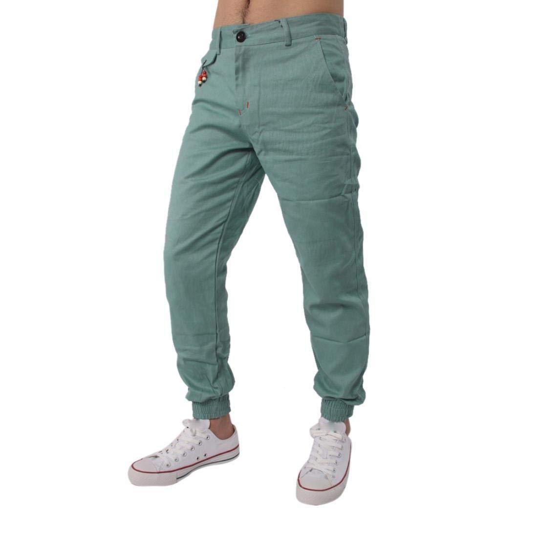 Realdo Clearance Casual Slack Solid Harem Sweatpants Loose Jogger Pant Sportwear Comfy for Men(Large,Green)