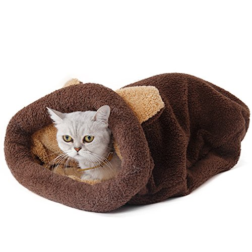 PAWZ Road Cat Sleeping Bag Self-Warming Kitty Sack Brown