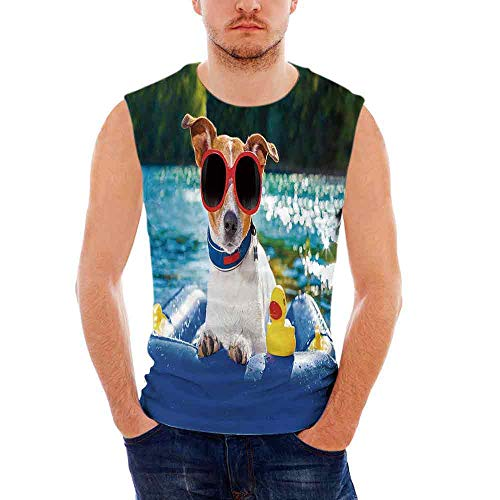 Funny100% Heavy Cotton H D Tank,Jack Russell Dog with Sunglasses Sitting on The